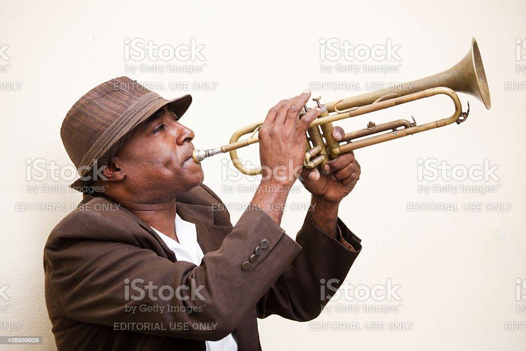 Street Jazz Musician in Old Havana Cuba Playing Trumpet Instrument royalty-free stock photo