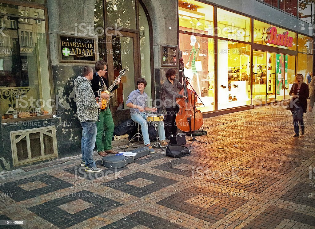 Street jazz quartet in Prague stock photo