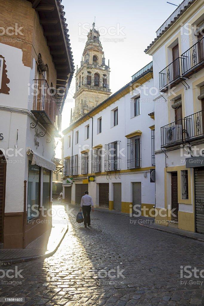Street Jewish quarter and mosque in Cordoba at sunrise stock photo