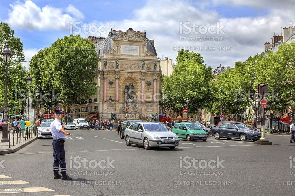 Street junction at Saint-Michel in Paris, France. royalty-free stock photo