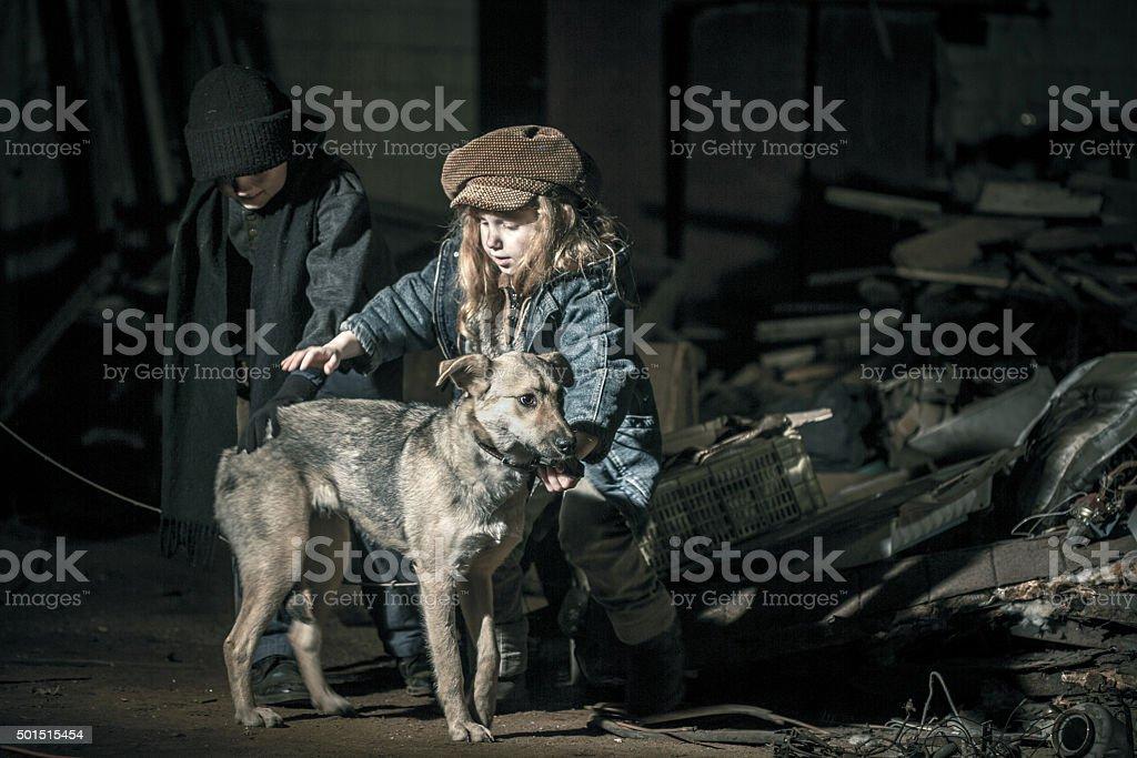 Street Kids With Mongrel Dog stock photo