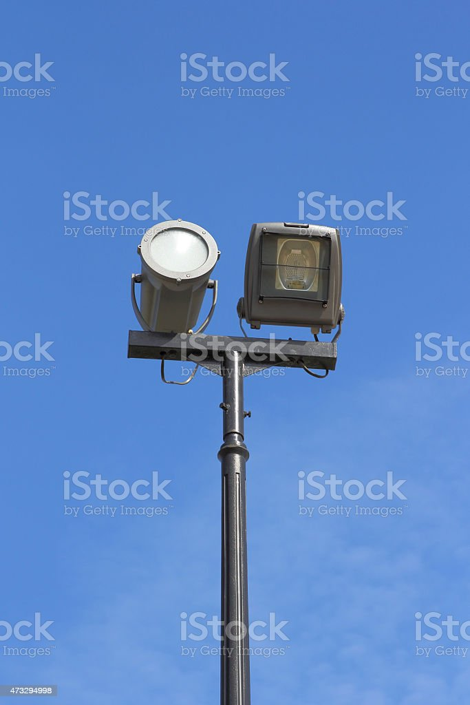 street lamp against the background of blue sky stock photo