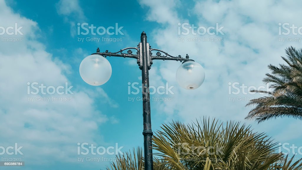 Street lamp and blue sky stock photo