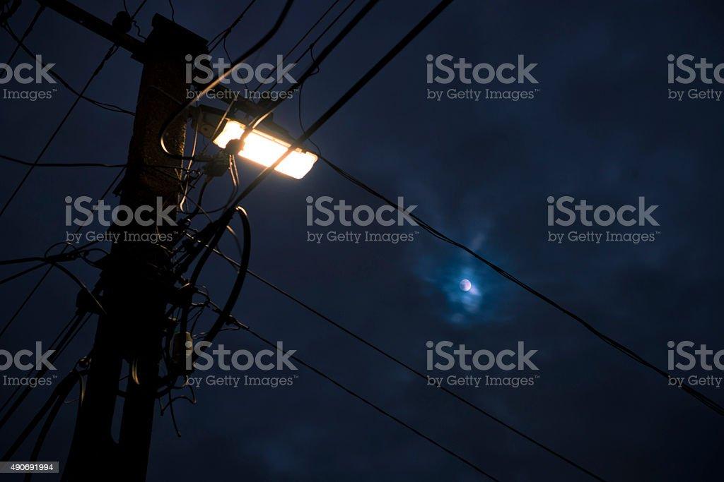 Street lamp and full moon stock photo