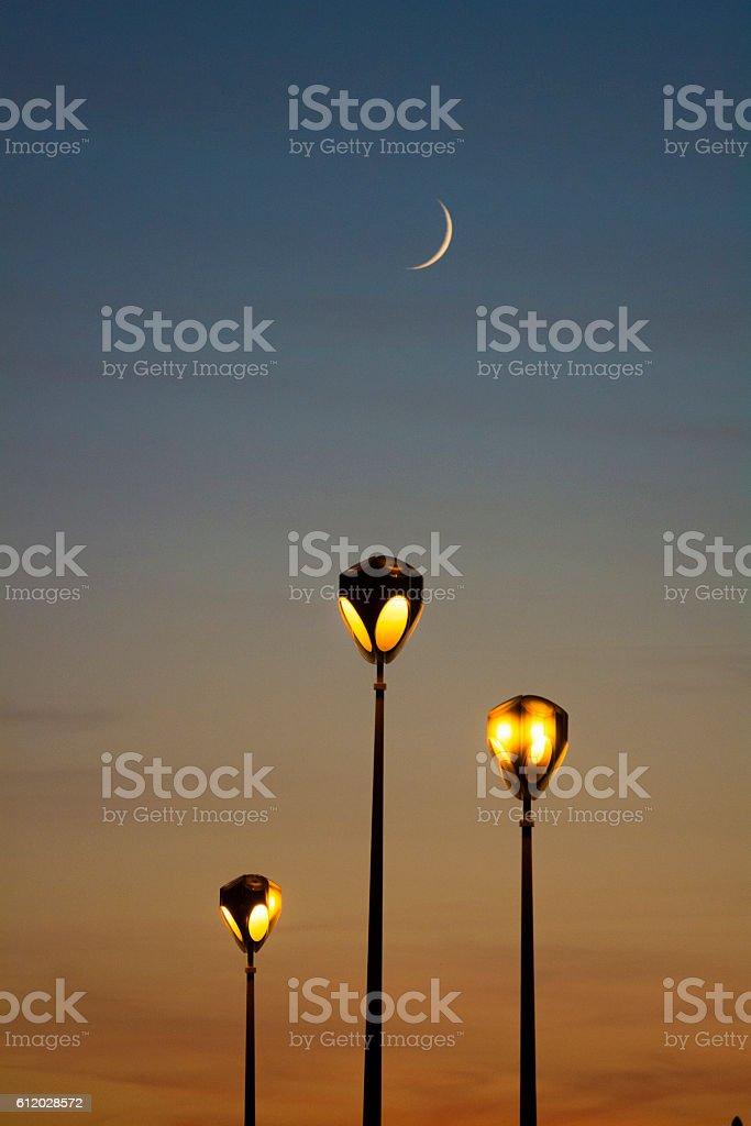 Street lamp and moon stock photo