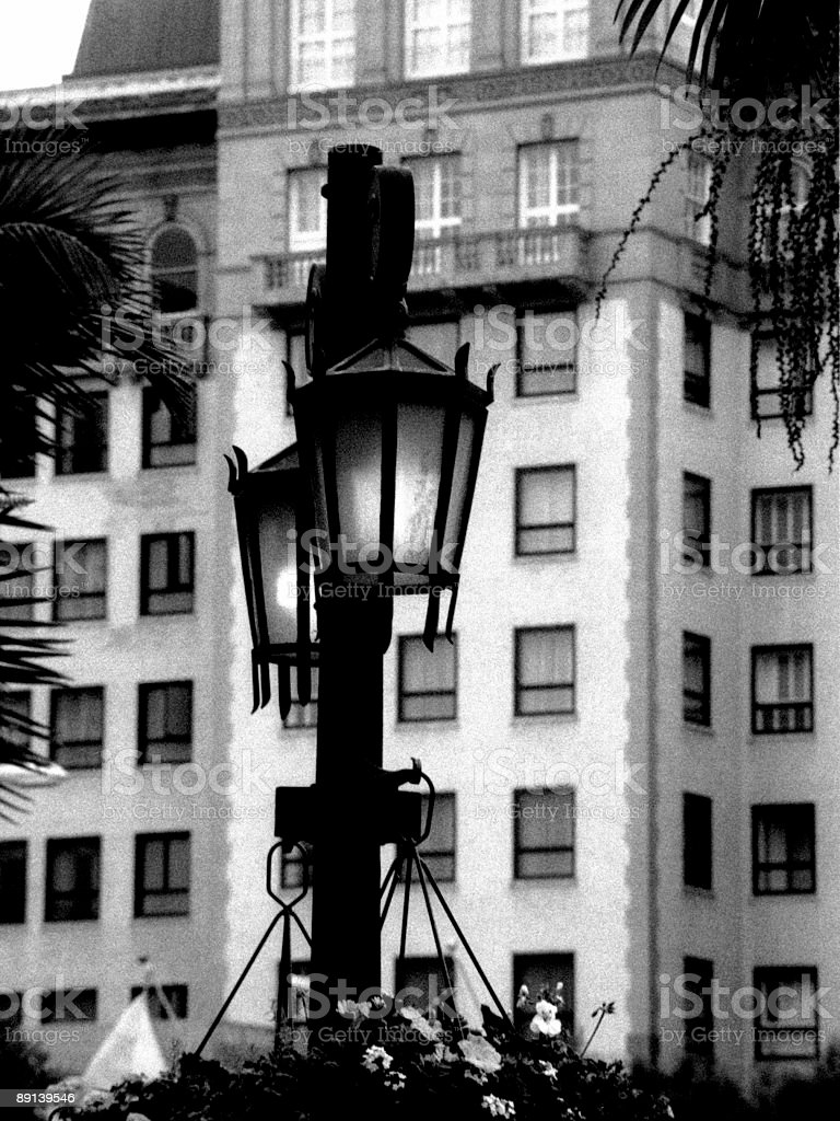 Street lamp and wilshire hotel stock photo