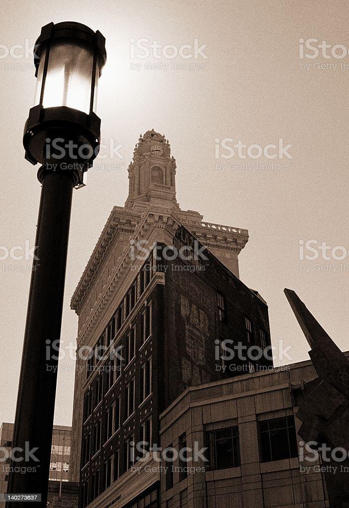 Street lamp backlit by sun stock photo