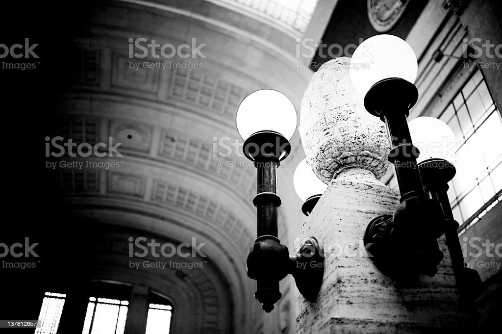 Street Lamp. Black and White, 1930s Style royalty-free stock photo