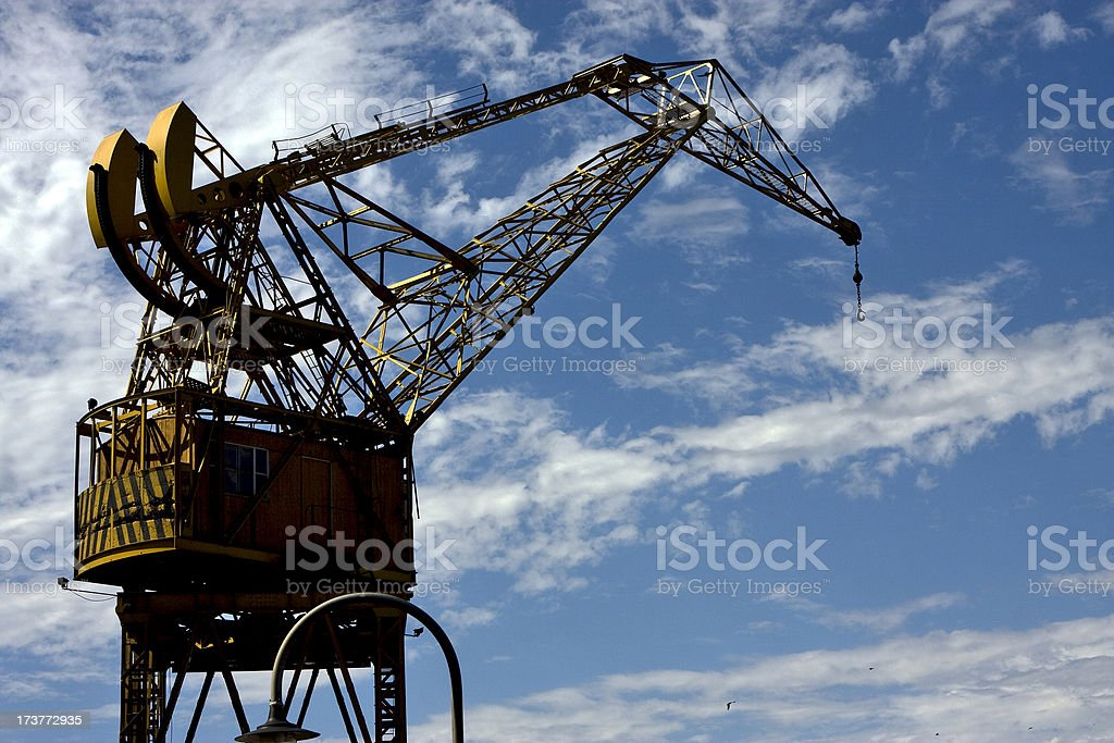 street lamp clouds and crane royalty-free stock photo