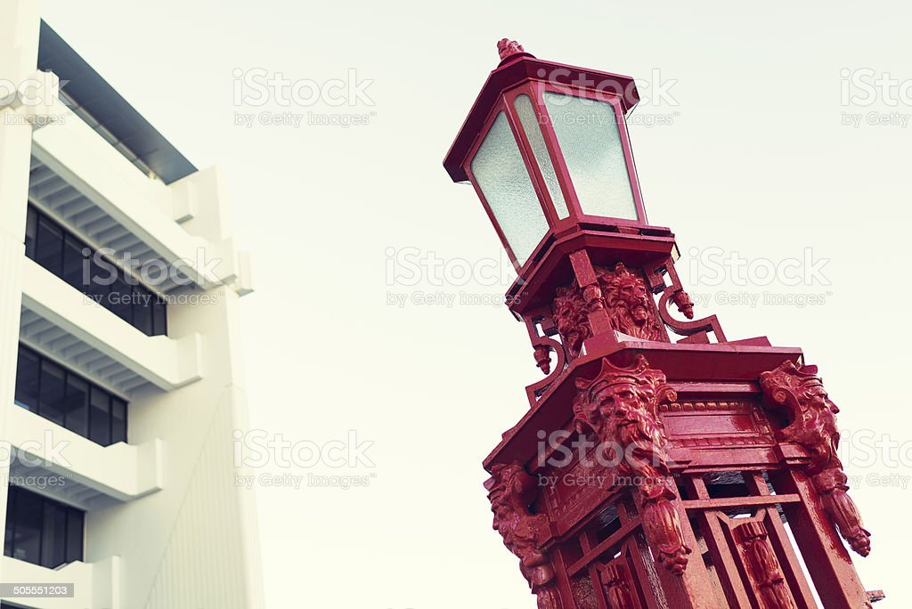 Street lamp in Auckland stock photo