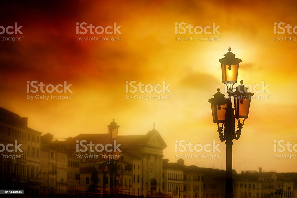 Street lamp in the sunrise at Saint Mark's Square, Venice royalty-free stock photo