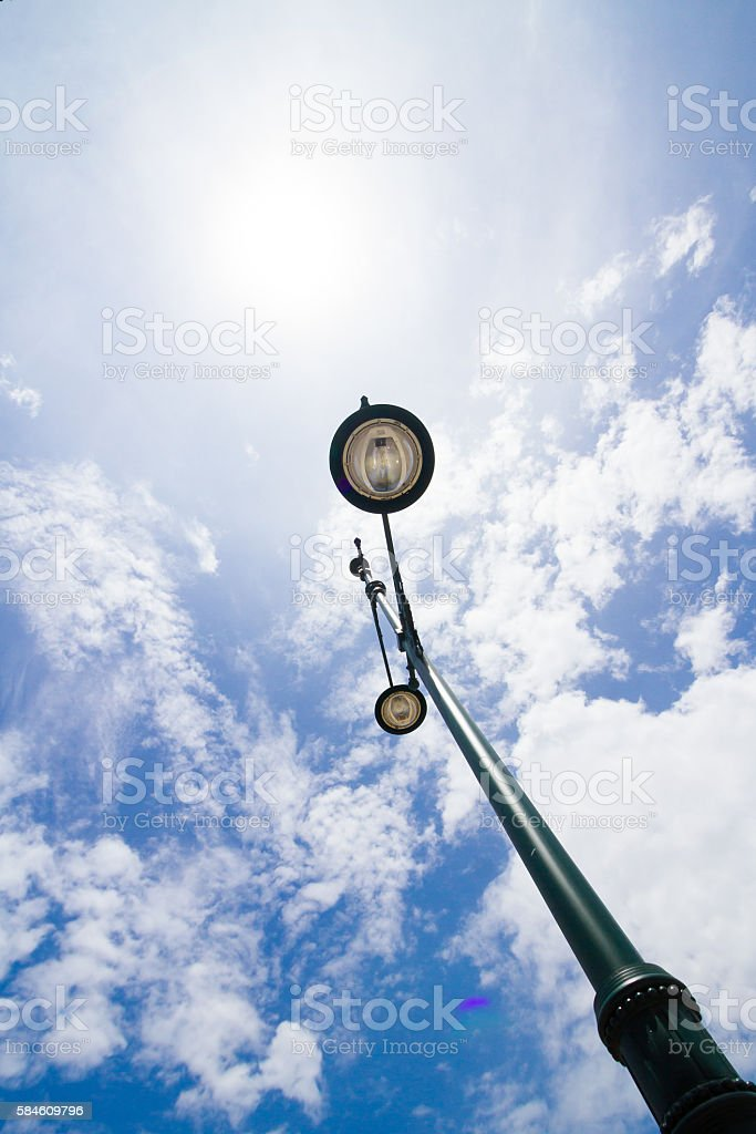 street lamp light with blue sky background stock photo