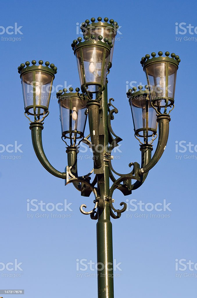 Street lamp on blue sky background royalty-free stock photo