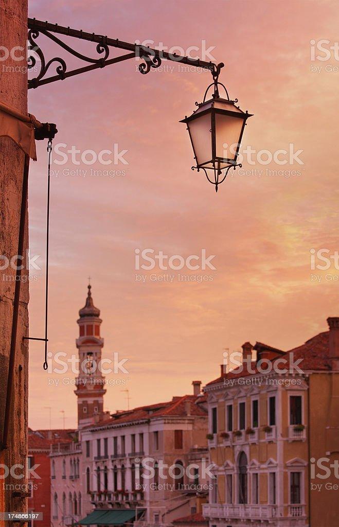 Street lamp on the Rialto Bridge in Venice royalty-free stock photo