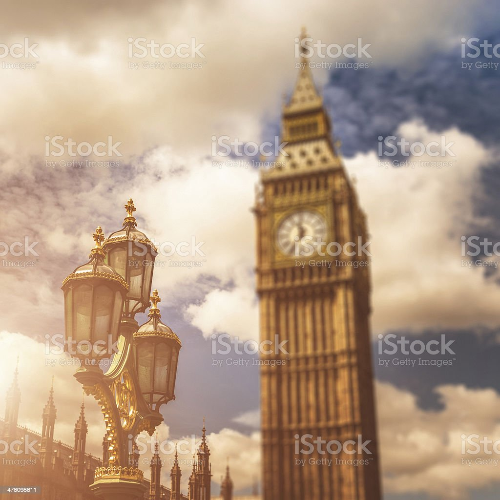 Street lamp with big ben at sunset royalty-free stock photo