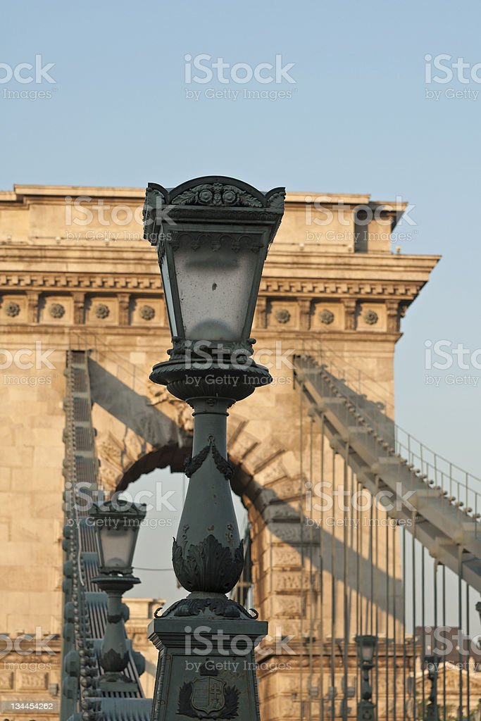Street lamp with Chain Bridge royalty-free stock photo