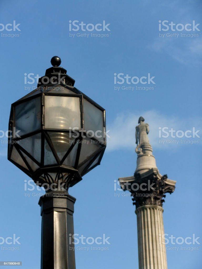 street lamp with nelsons column stock photo