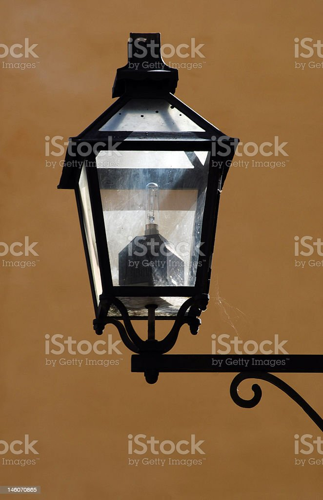 street lamp with spidernet stock photo