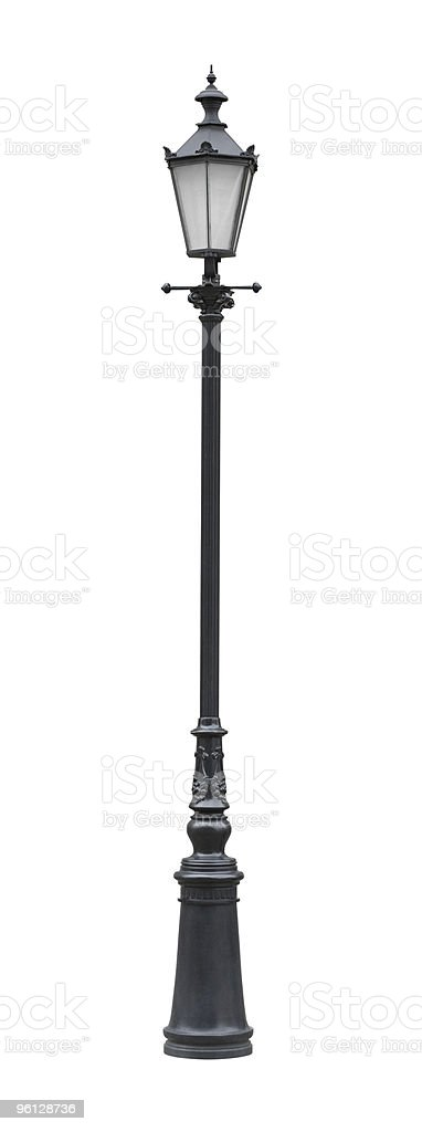 Street lamppost with one lamp black stock photo