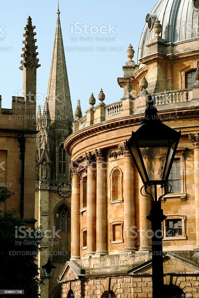 Street Lamps at Oxford University stock photo