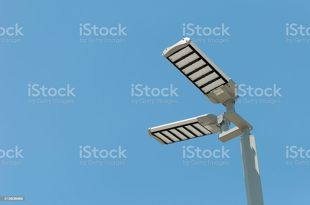 LED street lamps post stock photo