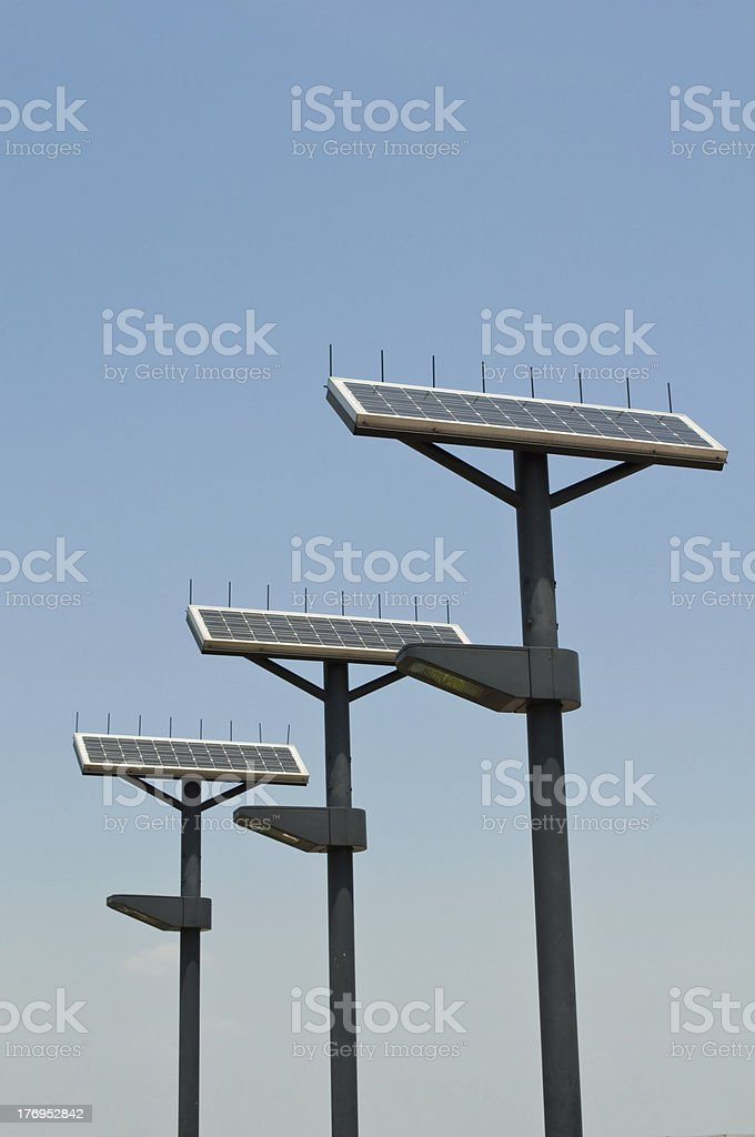 Street lamps powered by solar power royalty-free stock photo