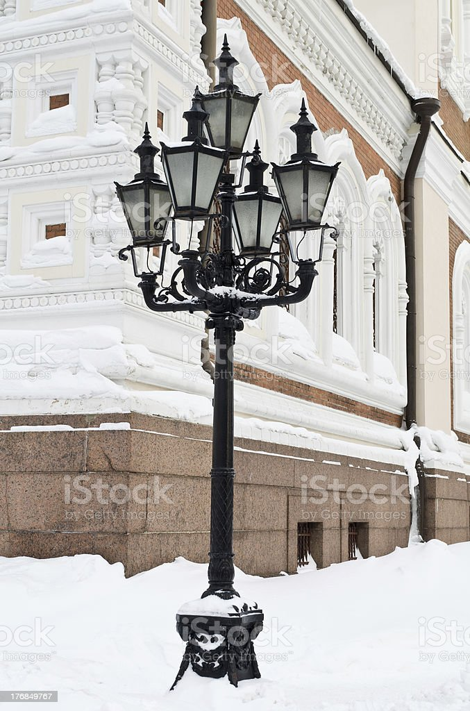 Street lantern lamp in winter season. royalty-free stock photo
