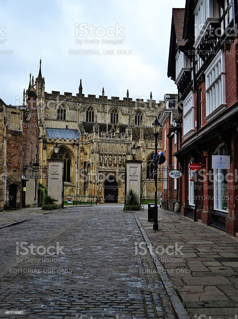 Street leading to Gloucester Cathedral. stock photo