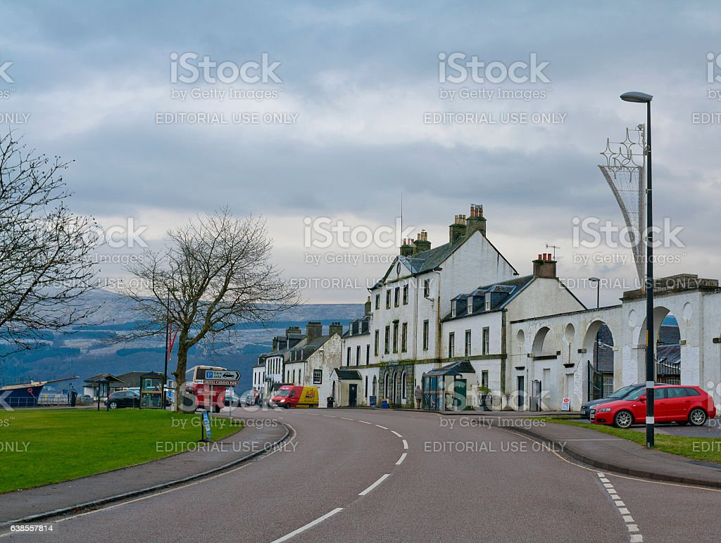 Street leading to the Lake in Inveraray, United Kingdom stock photo