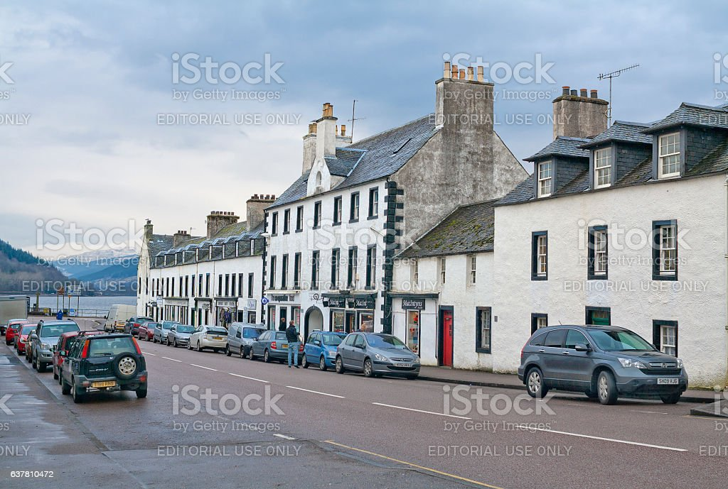 Street leading to the Lake shore in Inveraray, Scotland stock photo