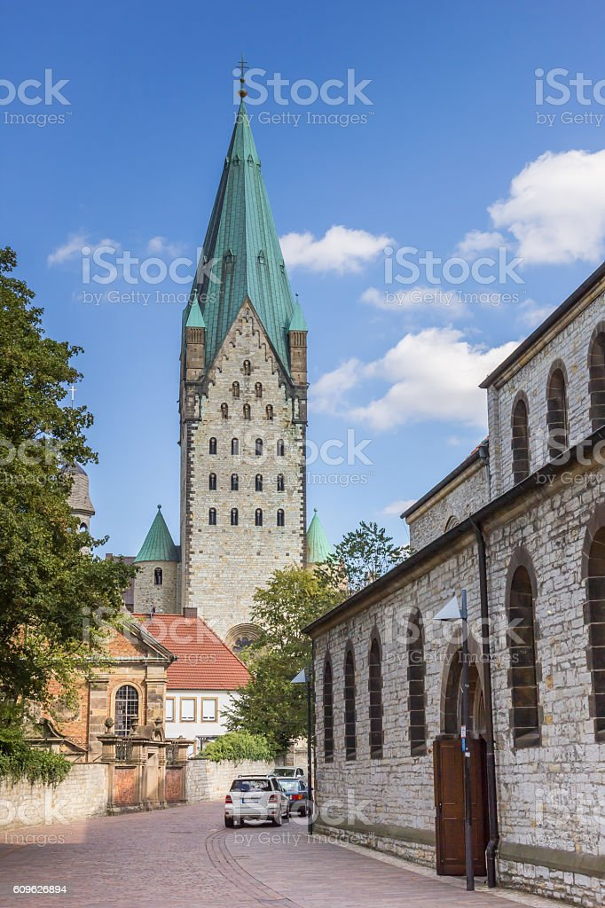 Street leading to the Paderborn Dom stock photo