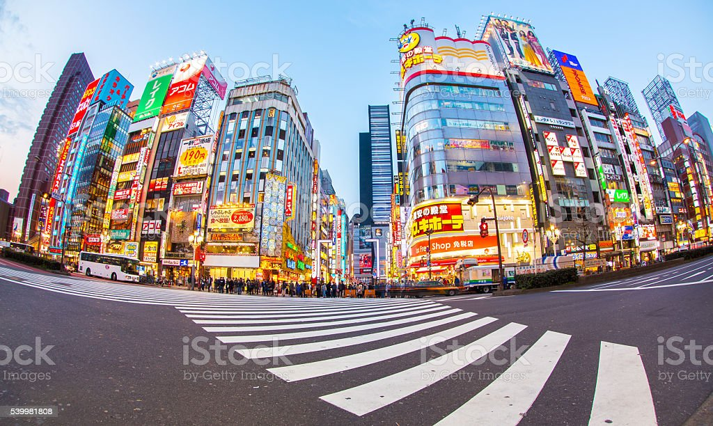 Street life in Shinjuku , Japan stock photo