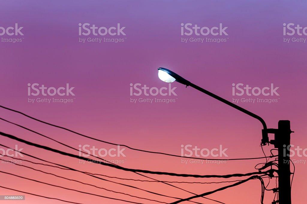 Street light against twilight sky background stock photo