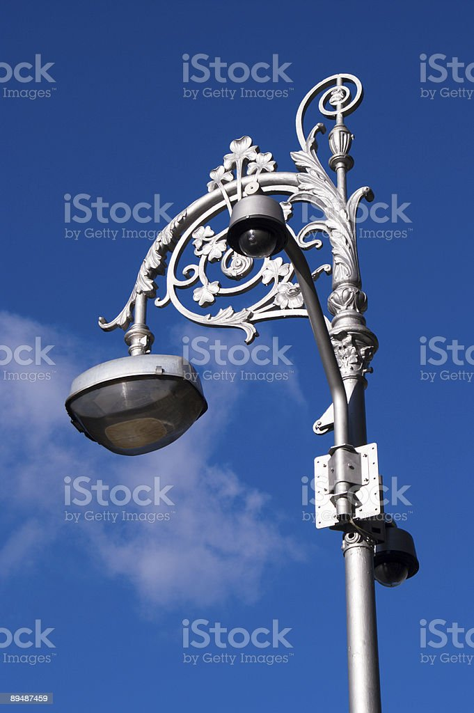 Street light and blue skies stock photo