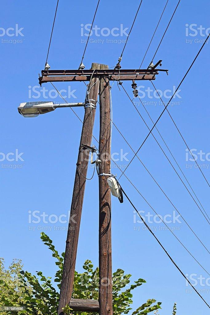 Street light and electricity pylon stock photo