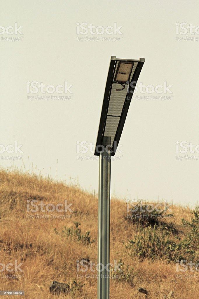 Street Light and solar panel, India stock photo