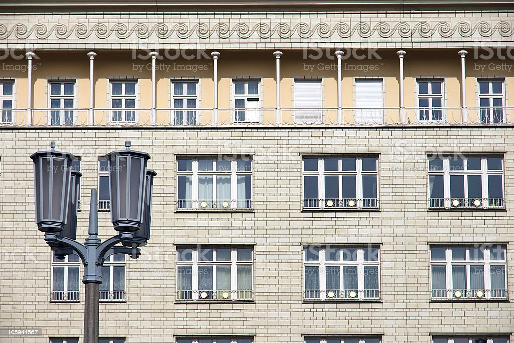 Street light in front of a socialistic building royalty-free stock photo