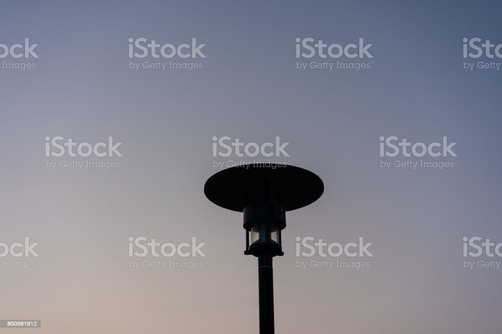 street light night sky blue hour sunset view stock photo