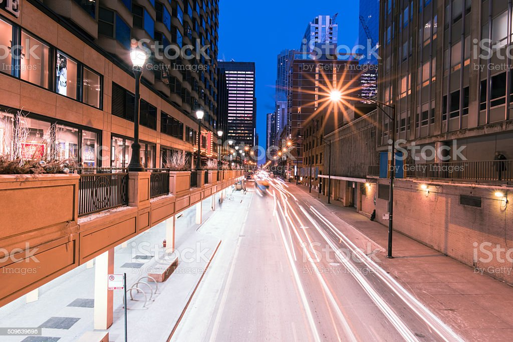 Street Light Trails at Dusk stock photo