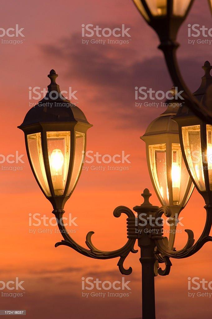 Street lights at dusk royalty-free stock photo