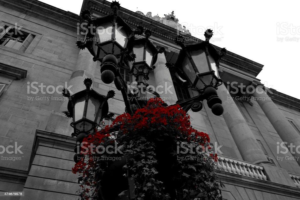 Street lights in Barcelona stock photo