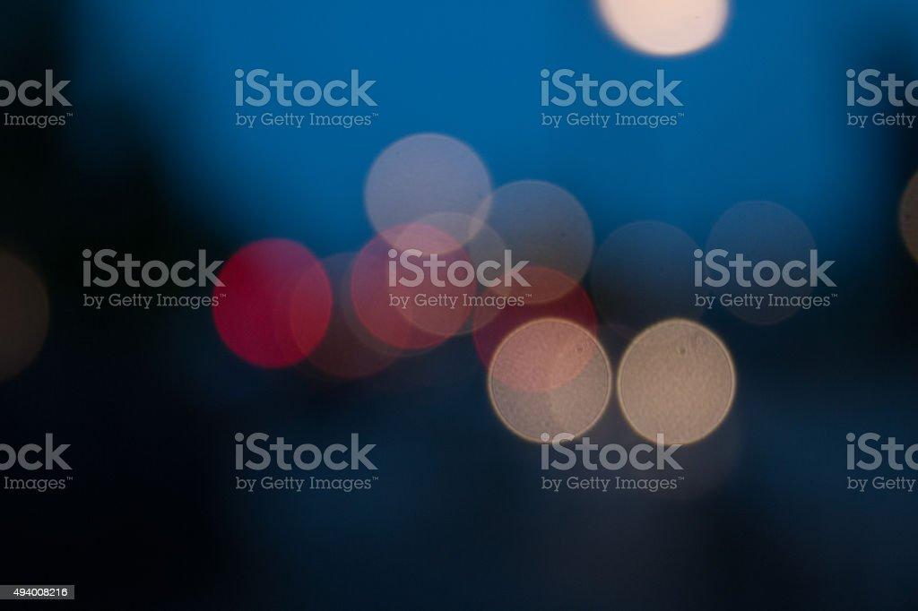 Street Lights in the city bokeh in dark night stock photo