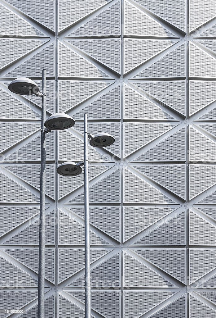 Street lights on futuristic architectural background royalty-free stock photo