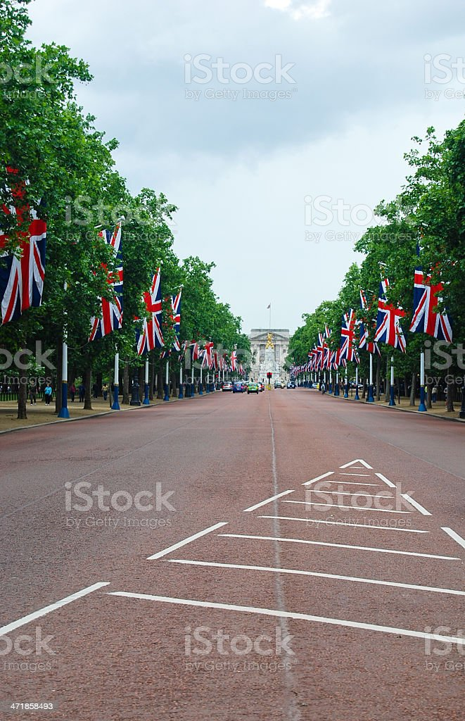 Street lined with British flags stock photo