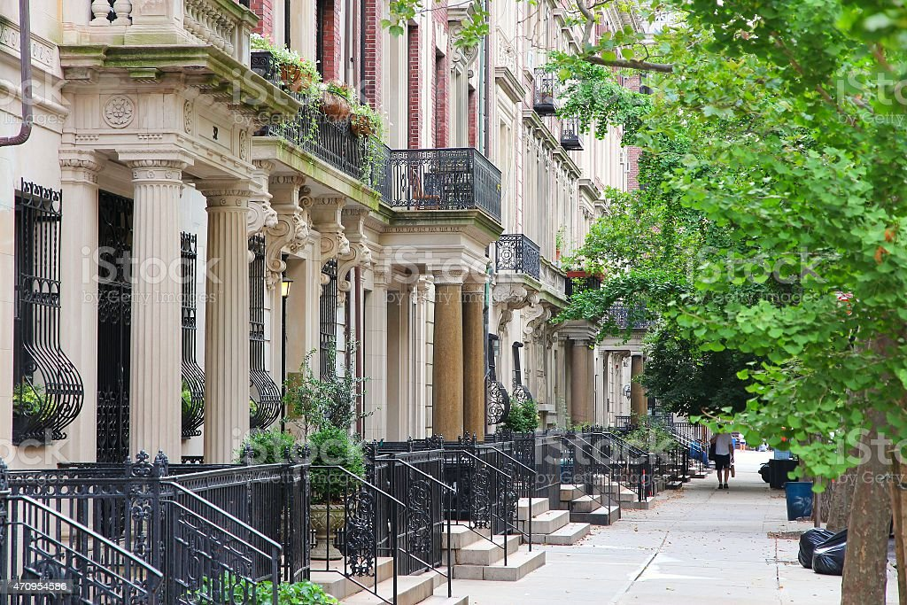 Street lined with New York brownstones stock photo