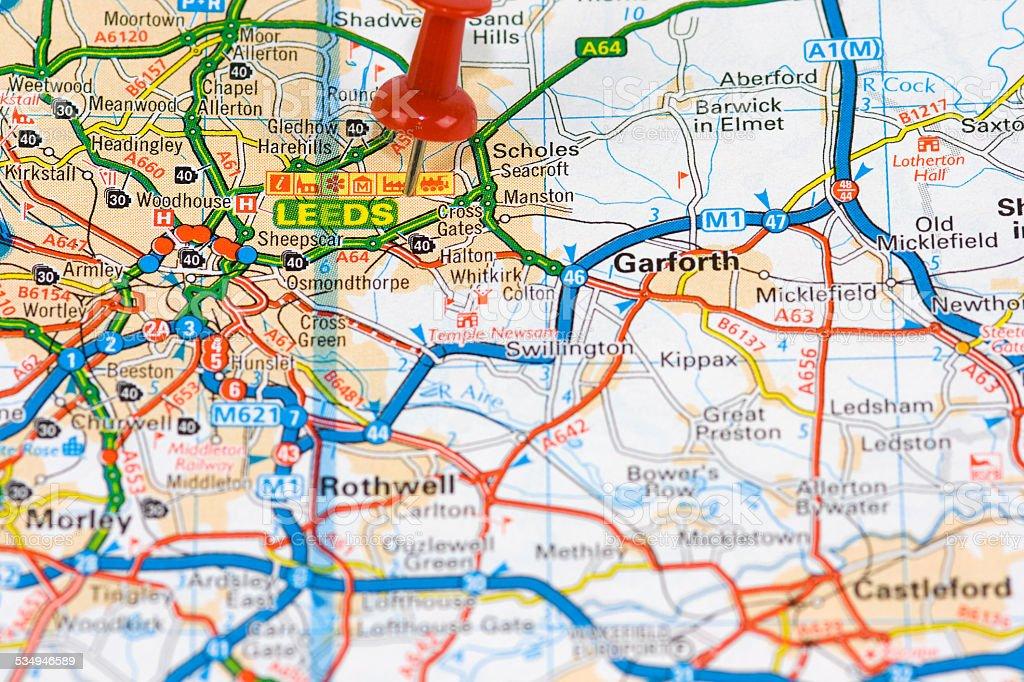 Street Map of  Leeds stock photo