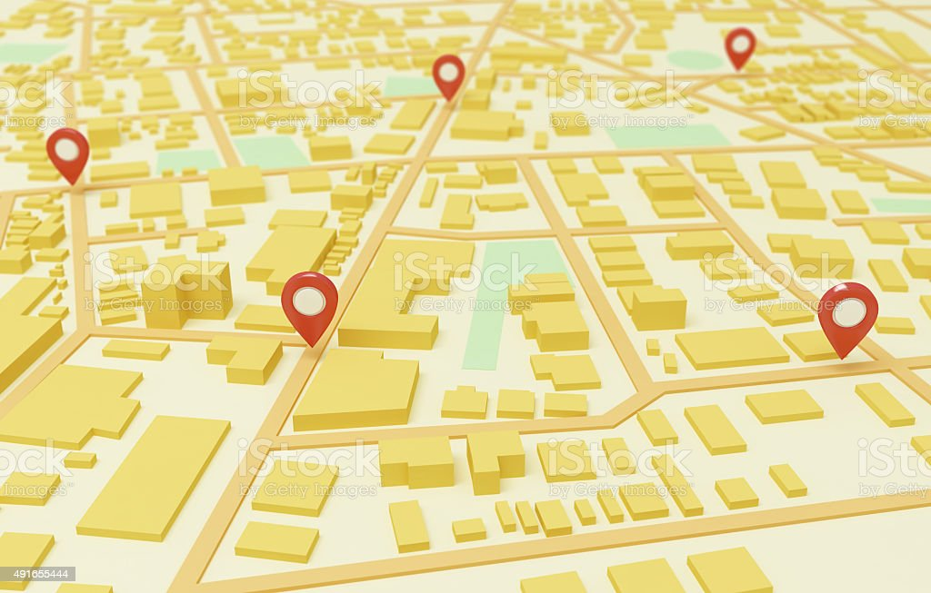 Street Map with GPS Icons stock photo