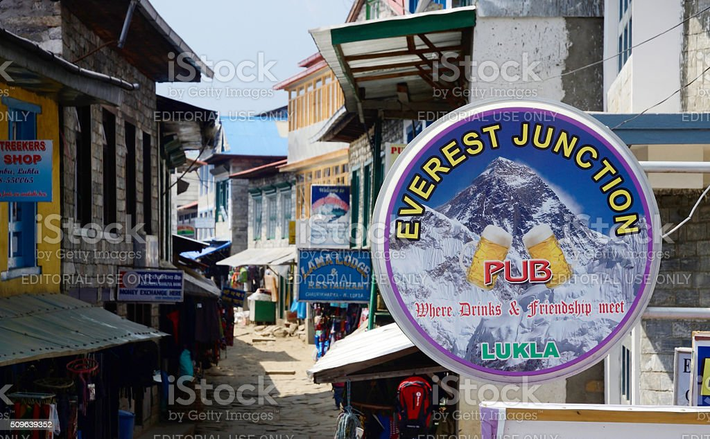 Street market, cafe and restaurants of Lukla city,Nepal stock photo