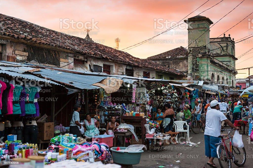 Street Market Granada Nicaragua at Sunset stock photo