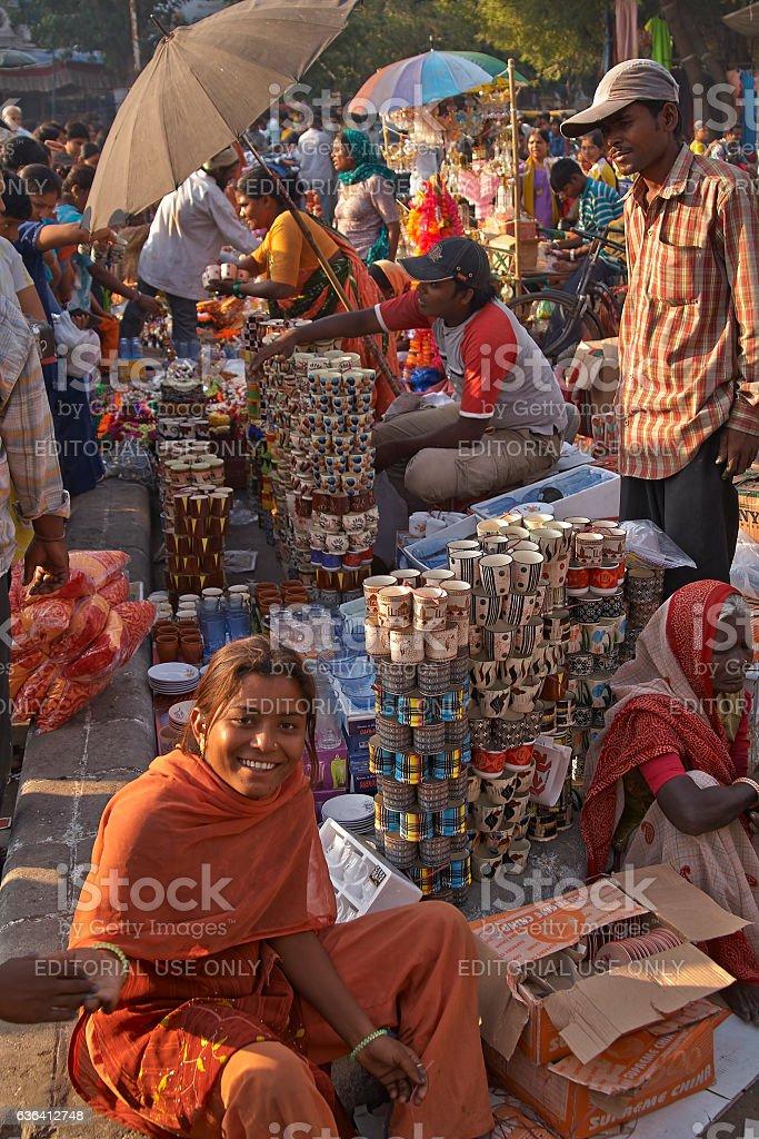 Street market in Ahmadabad stock photo